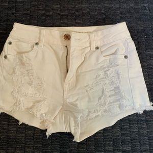 American Eagle Ripped White Jean Shorts